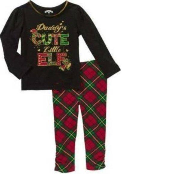 Girls Daddy Elf Christmas Shirt Leggings Pants Set